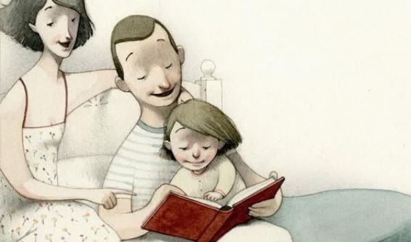 Il primo rimedio contro l'ignoranza non è scuola o lavoro. È molto più semplice /img/genitori-che-leggono-al-figlio.jpg