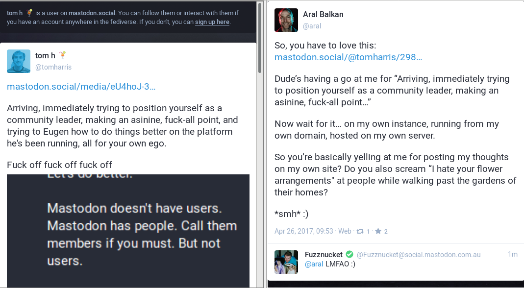Mastodon has no users, nor people. But people (can) have Mastodon /img/mastodon-and-people-not-platforms.png