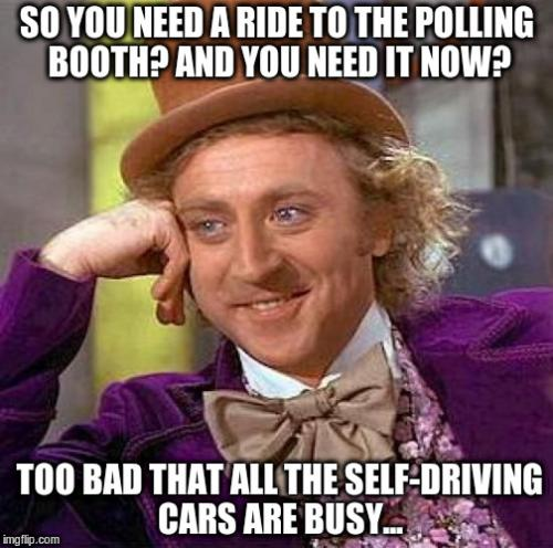 Autonomous, driverless cars need 5G? Wait a minute... /img/ride-to-polling-station.jpg