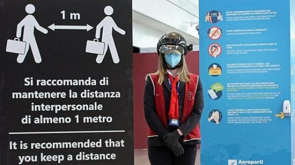 Post-lockdown Italy is a soccer match begging for live audience /img/smart-helmet-in-fco-airport.jpg