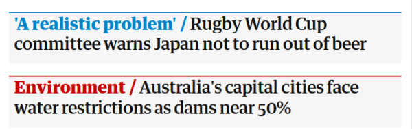 What is worst, the Royal Baby, or beer at the Rugby World Cup? /img/water-restrictions-vs-rugby-world-cup.png