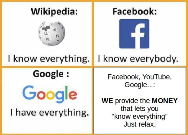 Facebook and Google supporting Wikipedia. How NOT cool is that? /img/wikipedia-facebook-google-meme.jpg